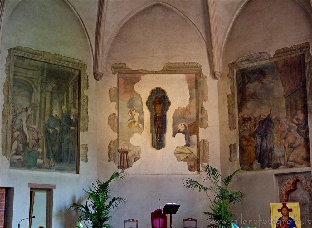 Milan (Italy) - Frescoes on the wall of the right apse of Santa Maria Incoronata