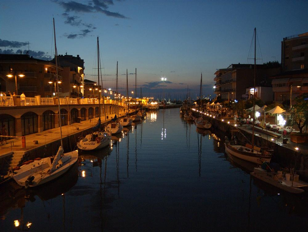 Cattolica (Rimini, Italy) - Canal between Gabicce Mare and Cattolica at darkening