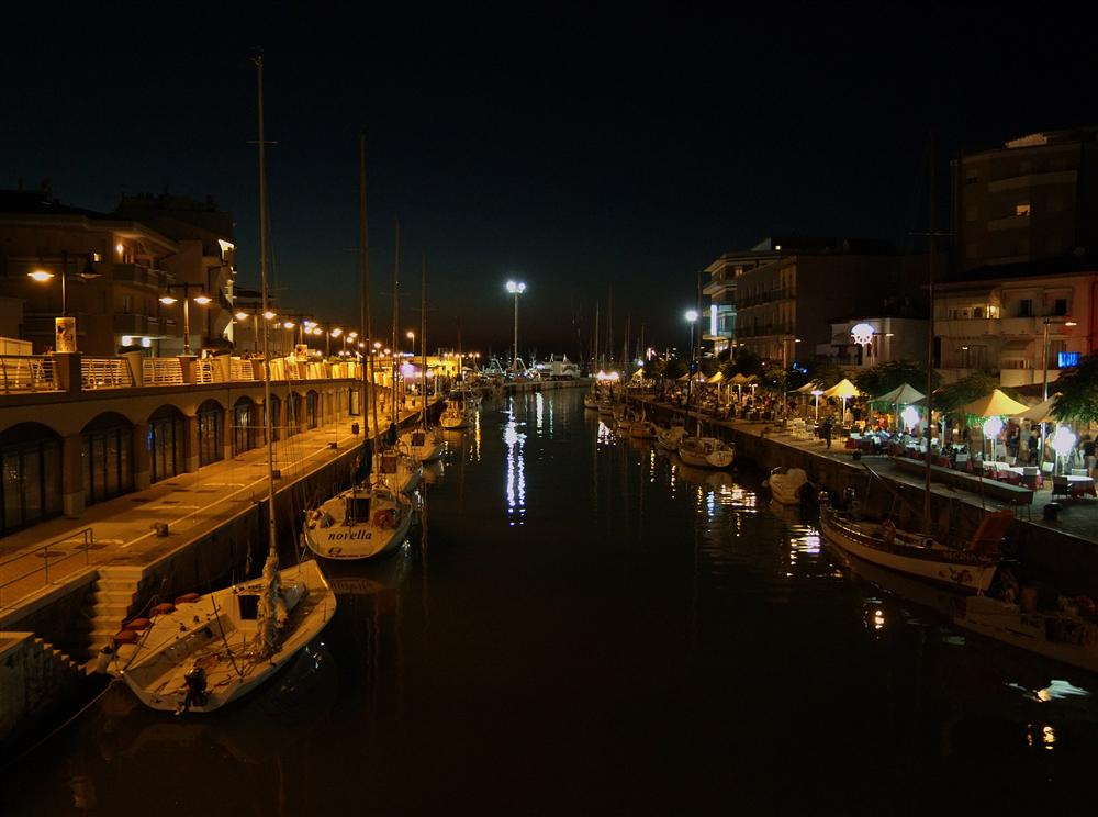 Cattolica (Rimini, Italy) - Night sight of the canal between Cattolica and Gabicce Mare