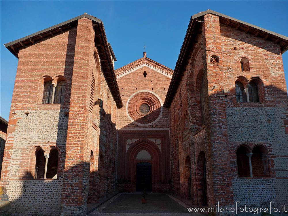 San Nazzaro Sesia (Novara, Italy) - Facade of the church of the Abbey of the Saints Nazario and Celso