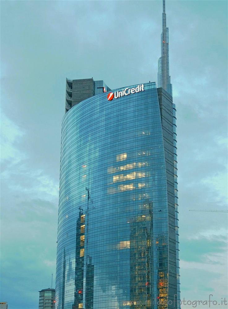 Milan (Italy) - The cloudy sky reflected on the Unicredit tower