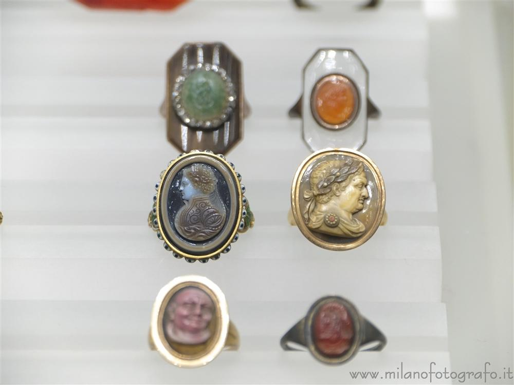 Milan (Italy) - Rings of the collection of ancient jewels in the Museum Poldi Pezzoli