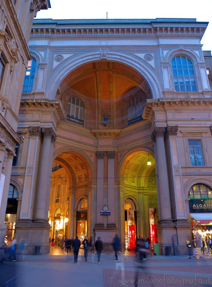 Milan (Italy) - Entrance of the Vittorio Emanuele Gallery from Scala square