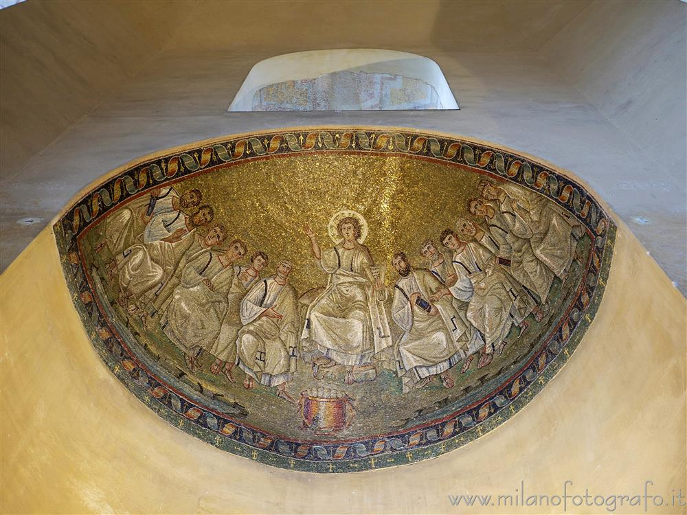 Milan (Italy) - Mosaic Christ with the apostles inside the Chapel of Saint Aquilino