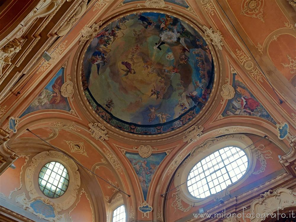 Milan (Italy) - Decorated ceiling above the entrance of the Church of Santa Francesca Romana