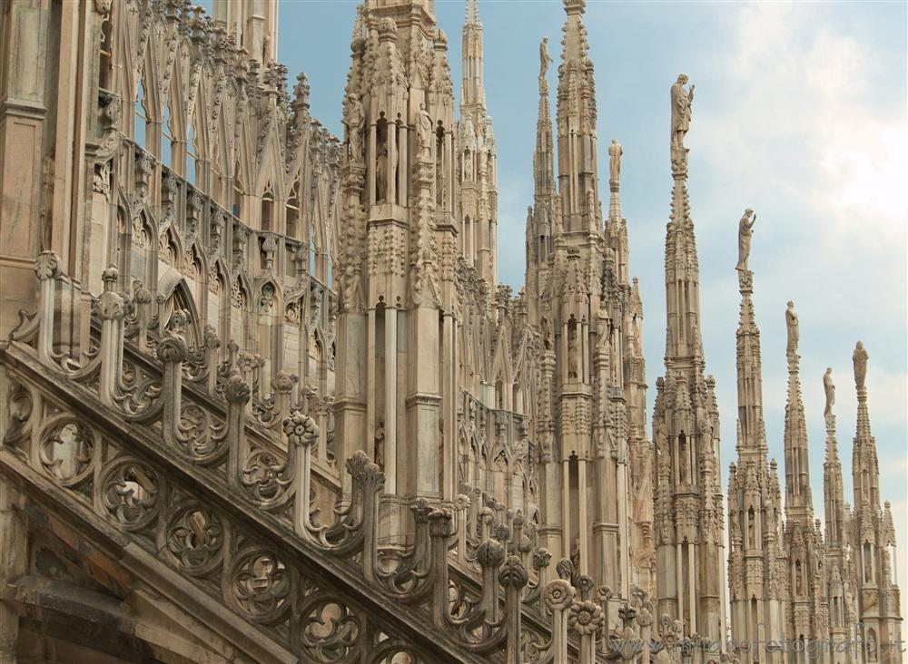 Milan (Italy) - Pinnacles on the roof of the Duomo