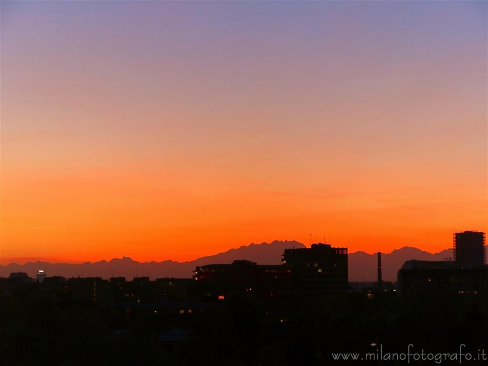 Milan (Italy) - Sunset with Mount Rosa in the background