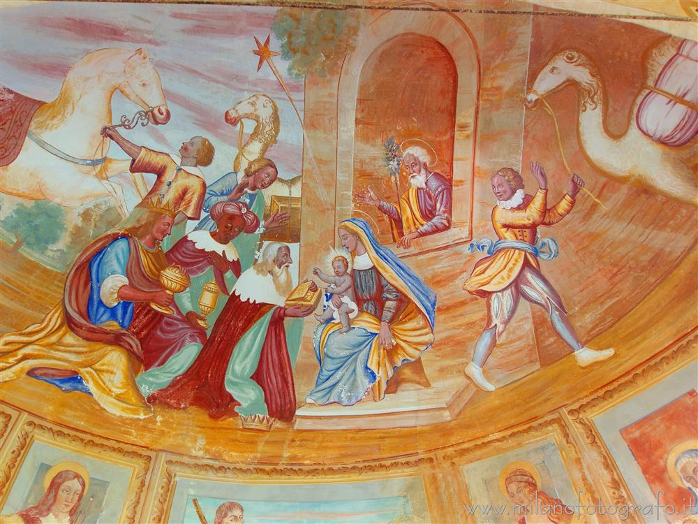 Andorno Micca (Biella, Italy) - Fresco of the Adoration of the Magi on the apsidal basin of the Chapel of the Hermit