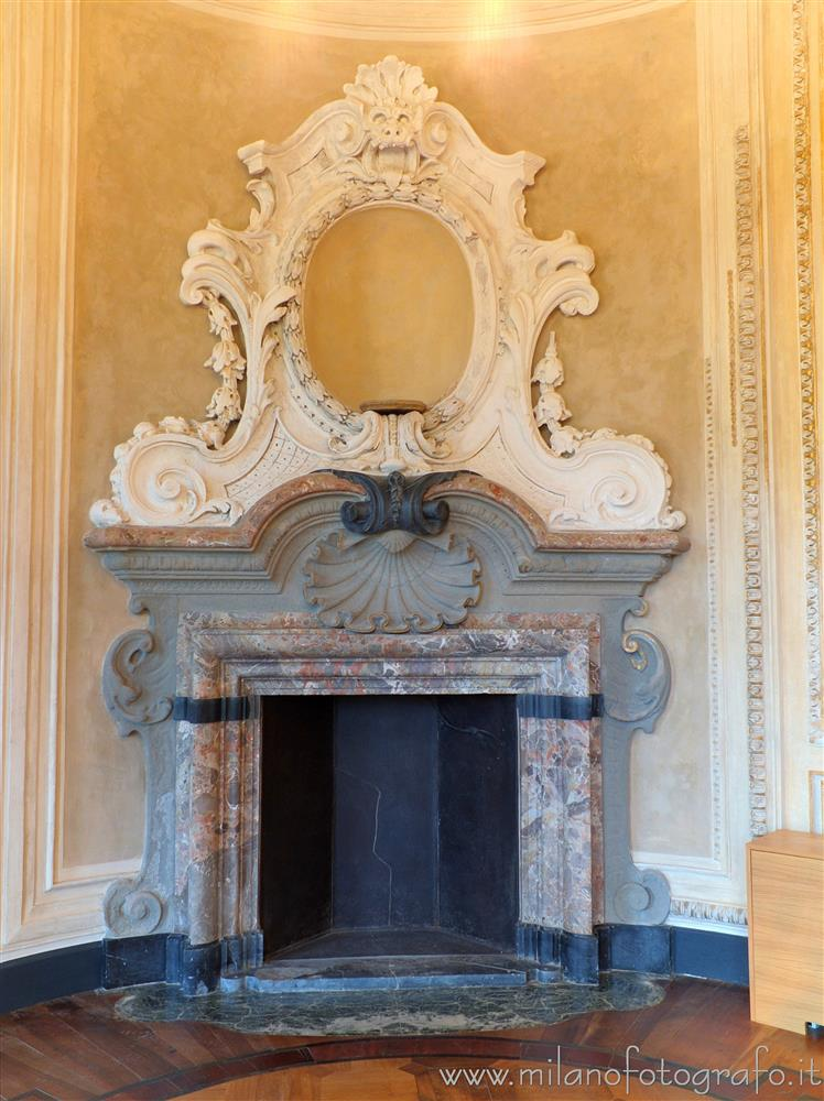 Arcore (Monza e Brianza, Italy) - Neorococò fireplace in the main hall of Villa Borromeo d'Adda