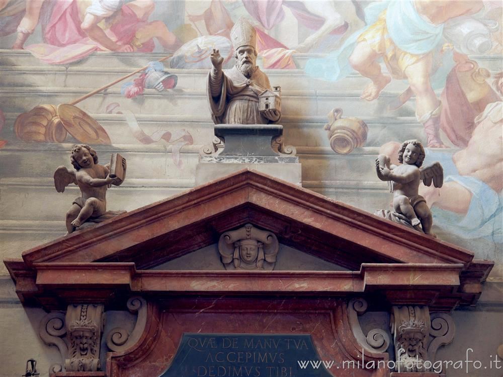 Milan (Italy) - Pediment over the door of the sacristy of the Basilica of San Marco