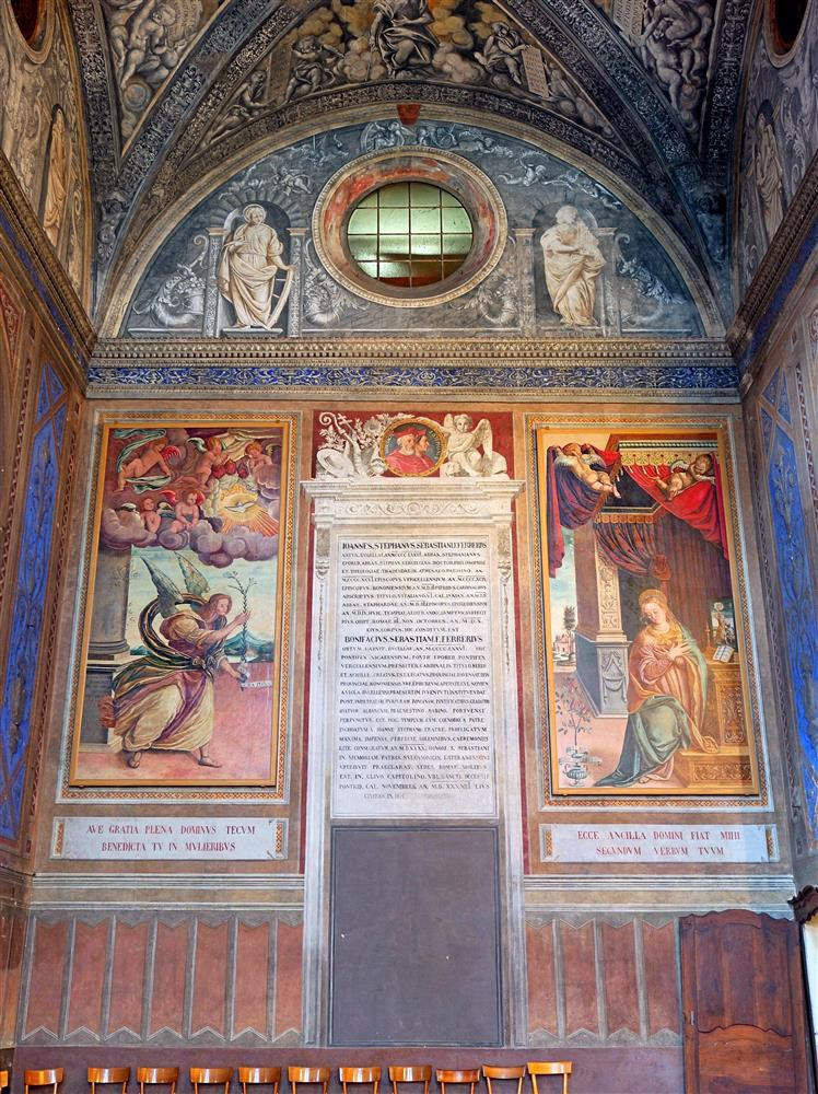 Biella (Italy) - Wall of the left transept arm in the Church of San Sebastiano