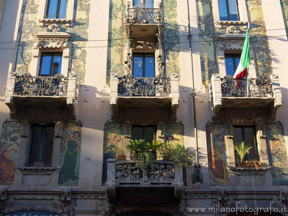 Milan (Italy) - Art Noveau decorations on the facade of House Galimberti
