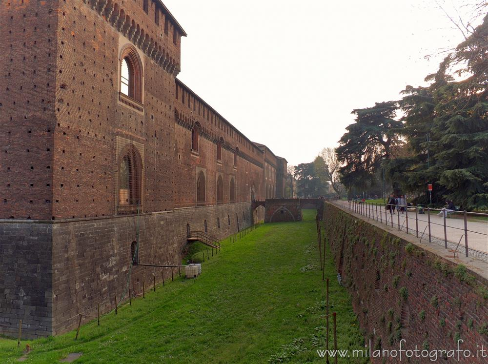 Milan (Italy) - Moat of the Sforza Castle from the side towards the Sempione Park