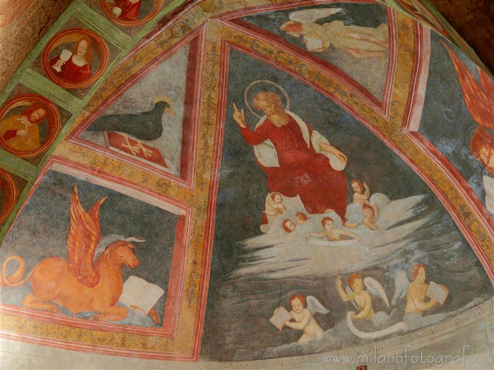 Milan (Italy) - Frescoes of the vault of the left apse of the Church of San Cristoforo on the Naviglio