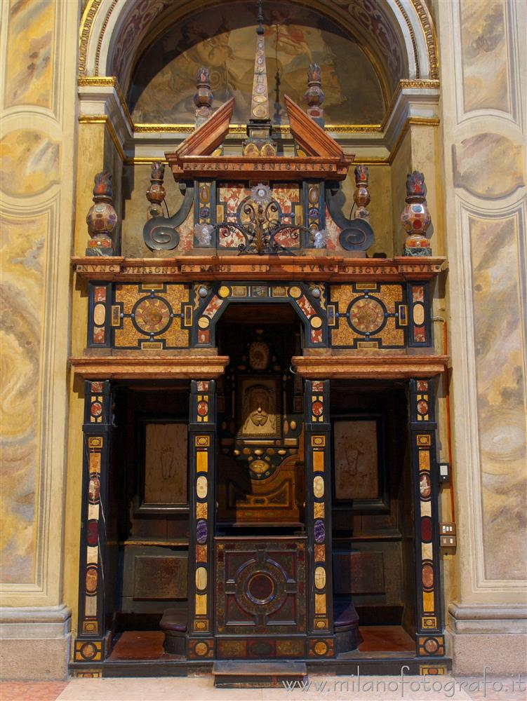 Milan (Italy) - Stone confessional in the Church of Sant'Alessandro in Zebedia