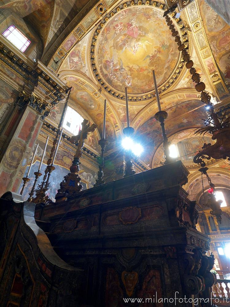 Milan (Italy) - Looking up from behind the altar of the Church of Sant'Alessandro in Zebedia