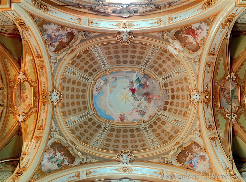 Desio (Milan, Italy) - Detail of the ceiling of the Basilica of the Saints Siro and Materno