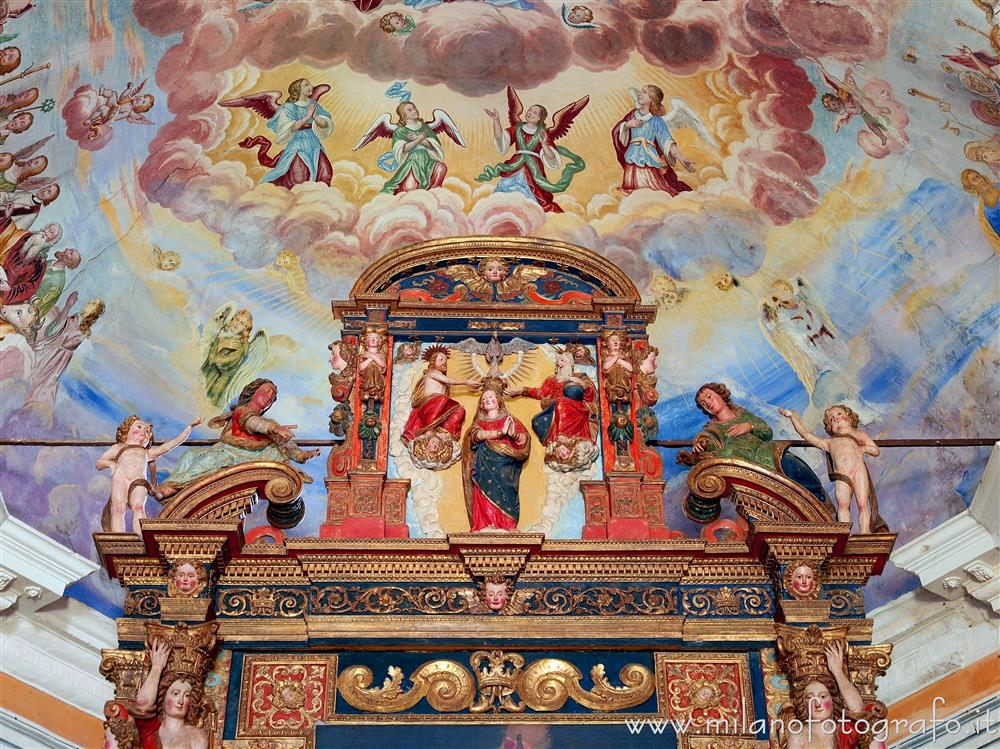 Trivero (Biella, Italy) - Upper part of the altar of the Large Church of the Sanctuary of the Moorland