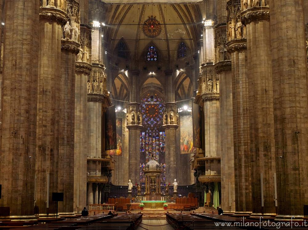 Milan (Italy) - Bottom of the central nave of the Cathedral
