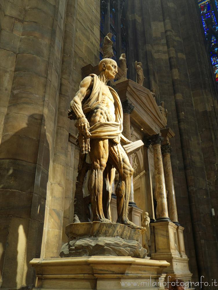 Milan (Italy) - Statue of skinned St. Bartholomew in the Cathedral