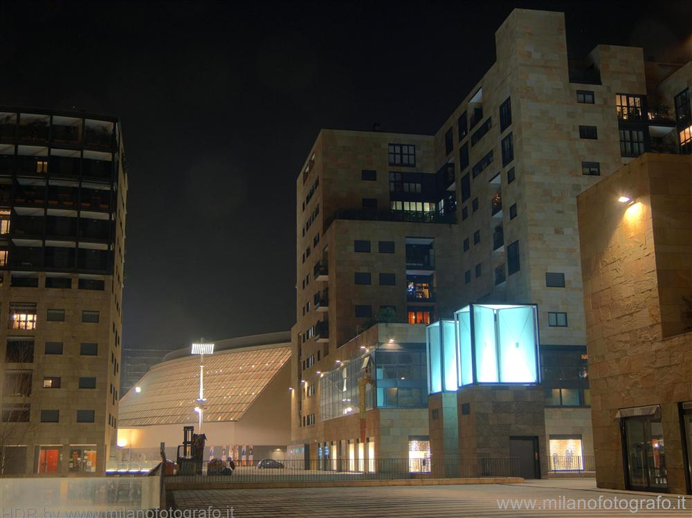 Milan (Italy) - Bicocca quarter by night with the Arcimboldi Theatre