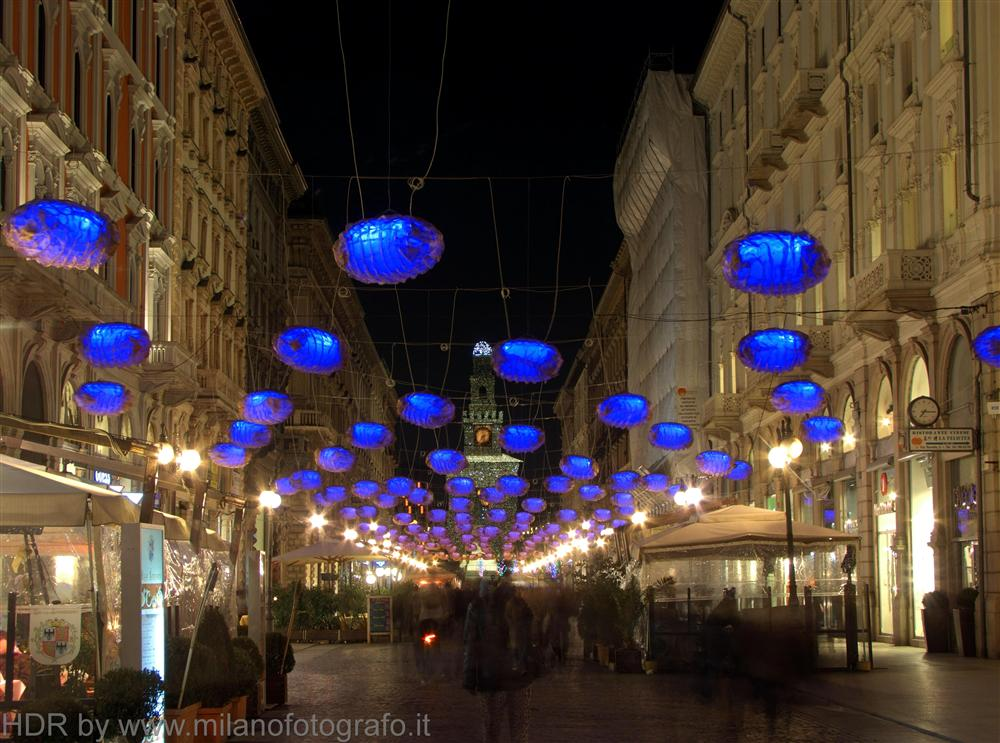 Milan (Italy) - Christmas decorations in Dante street