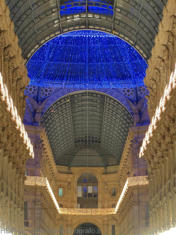 Milan (Italy) - The dome of the Galleria decorated for Chrismas