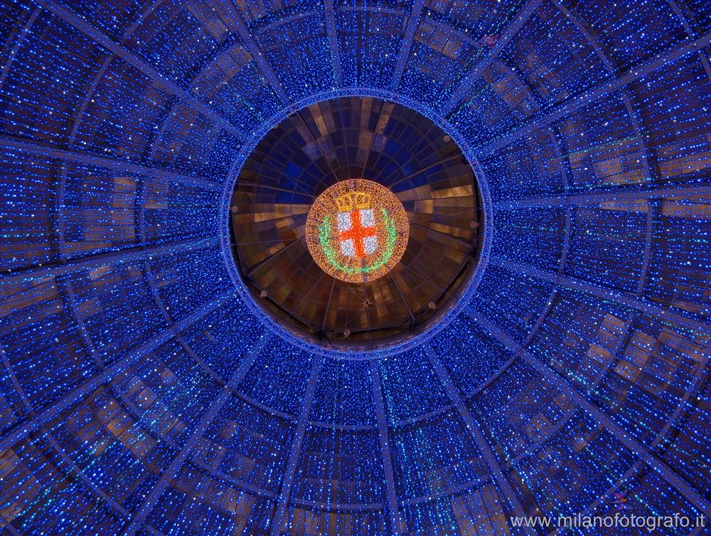 Milan (Italy) - The dome of the Galleria Vittorio Emanuele decorated for Christmas