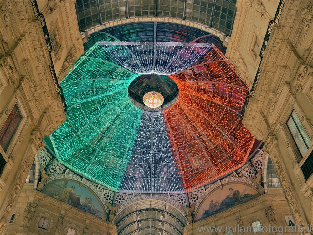 Milan (Italy) - The dome of the Galleria decorated with the colors of Italy