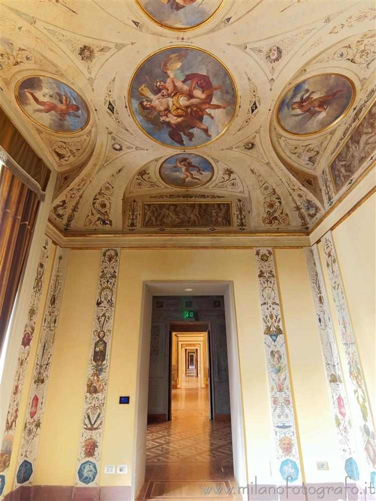 Milan (Italy) - Doors in line in Palazzo Serbelloni looking from the second boudoir