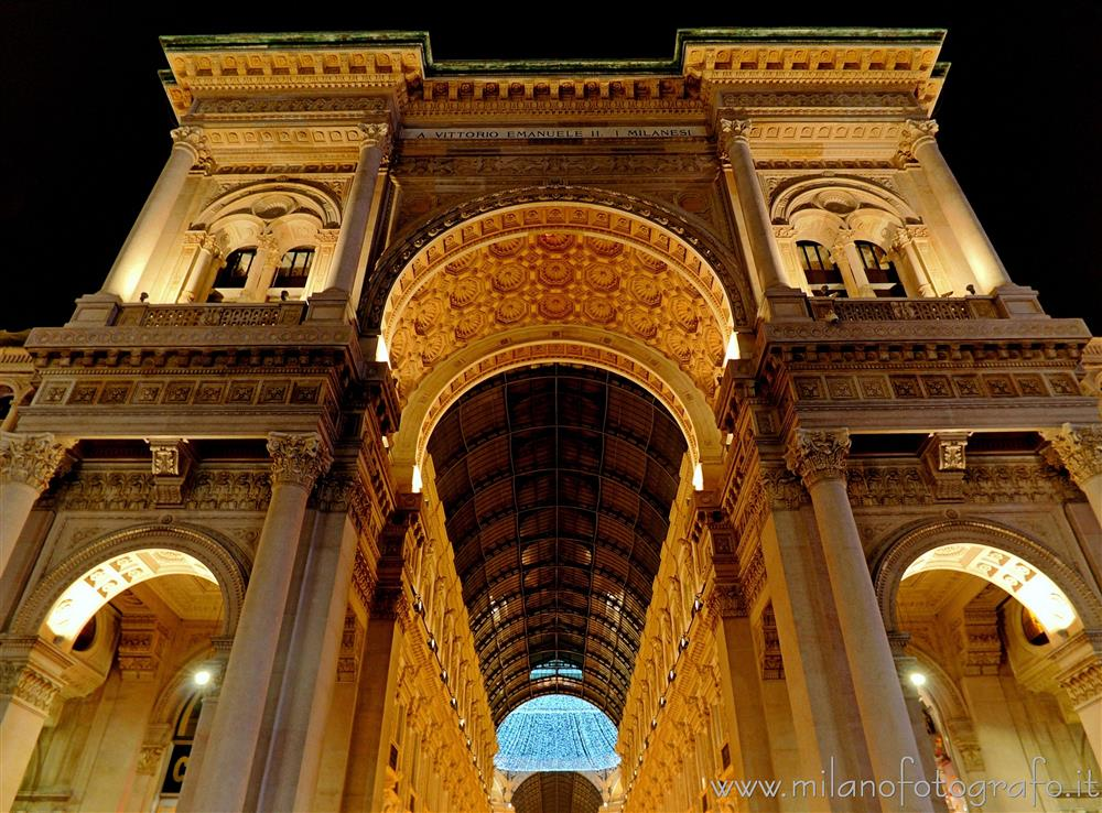 Milan (Italy) - Entrance arch of the Vittorio Emanuele Gallery with Christmas lights