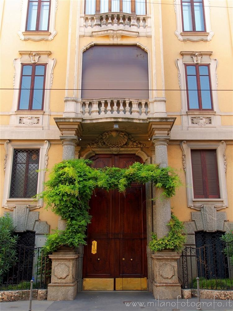 Milan (Italy) - Entrance of an elegant palace in corso Italia