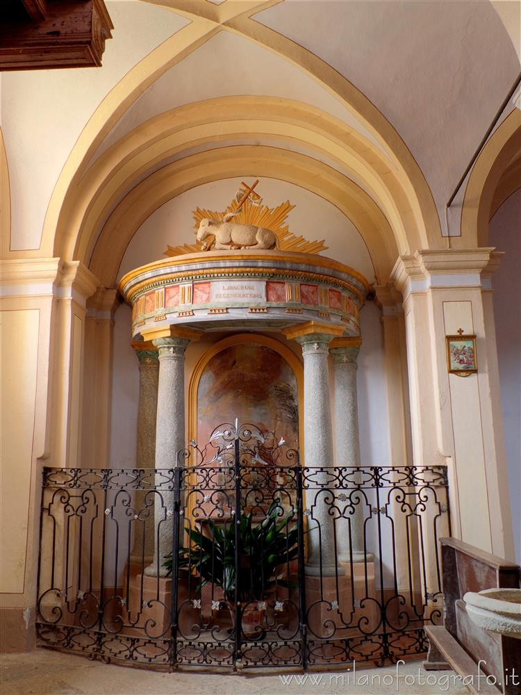 Magnano (Biella, Italy) - Baptismal font of the parish church of the Saints Baptist and Secondus