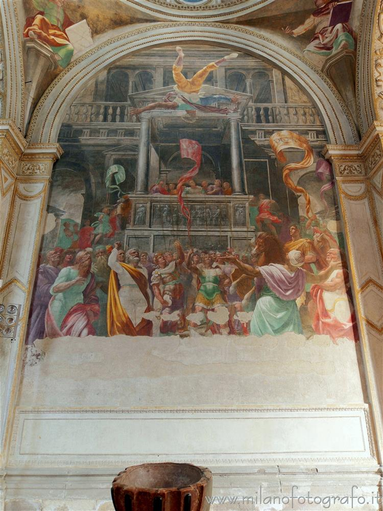 Milan (Italy) - Fresco of San Pietro and the fall of Simon Magus in the Foppa Chapel of the Basilica of San Marco