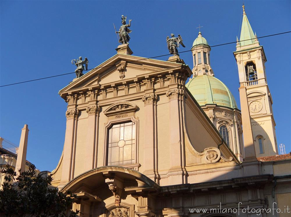 Milan (Italy) - Upper part of the facade of the Church of San Giorgio at the Palace