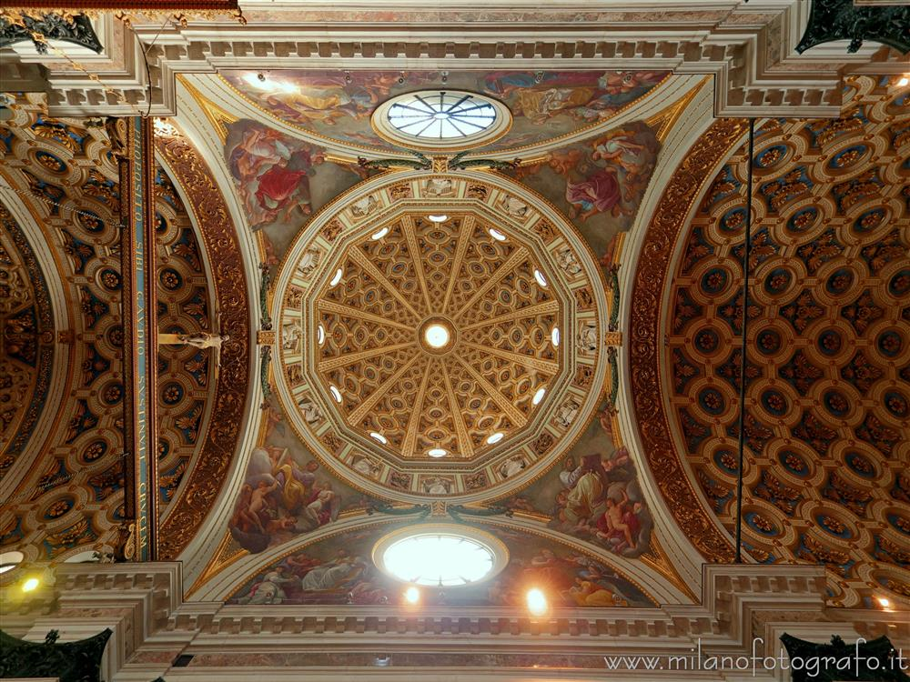 Milan (Italy) - Ceiling of the Church of Santa Maria dei Miracoli at the intersection of nave and transept