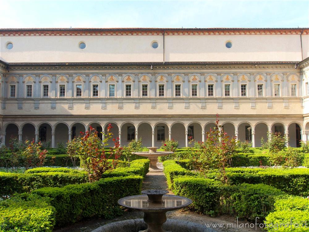 Milan (Italy) - Cloisters of San Simpliciano - One side of the Cloister of the Two Columns