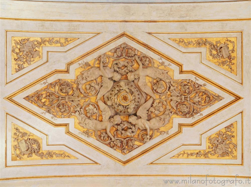 Milan (Italy) - Stuccos in the center of the ceiling of the Napoleonic Great Hall of Serbelloni Palace
