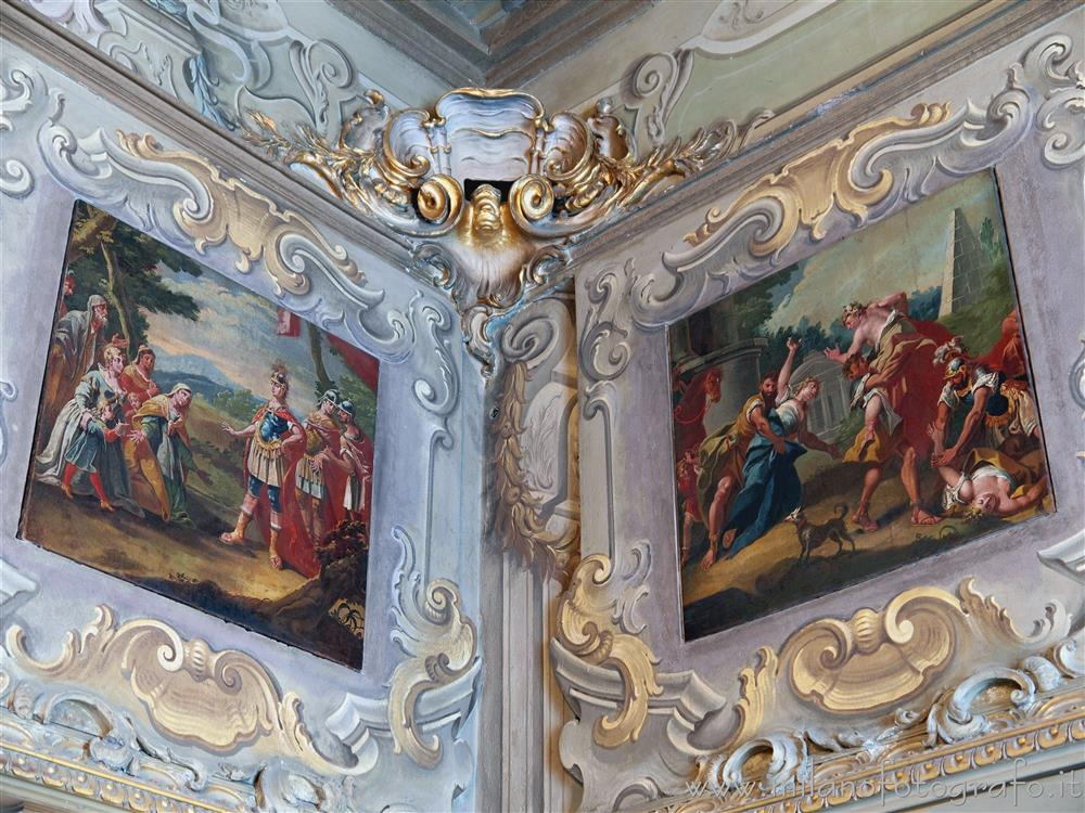 Milan (Italy) - Stuccos, frescoes and paintings in the Hall Room of Palace Visconti