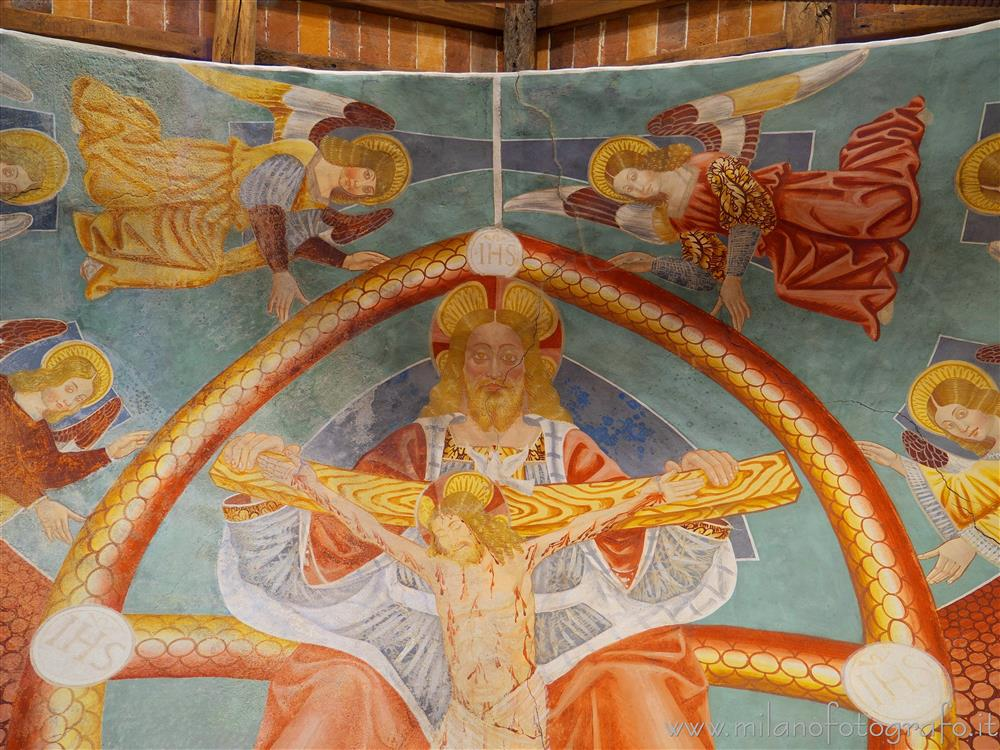 Momo (Novara, Italy) - Detail of the fresco  of the trinity in the Oratory of the Holy Trinity