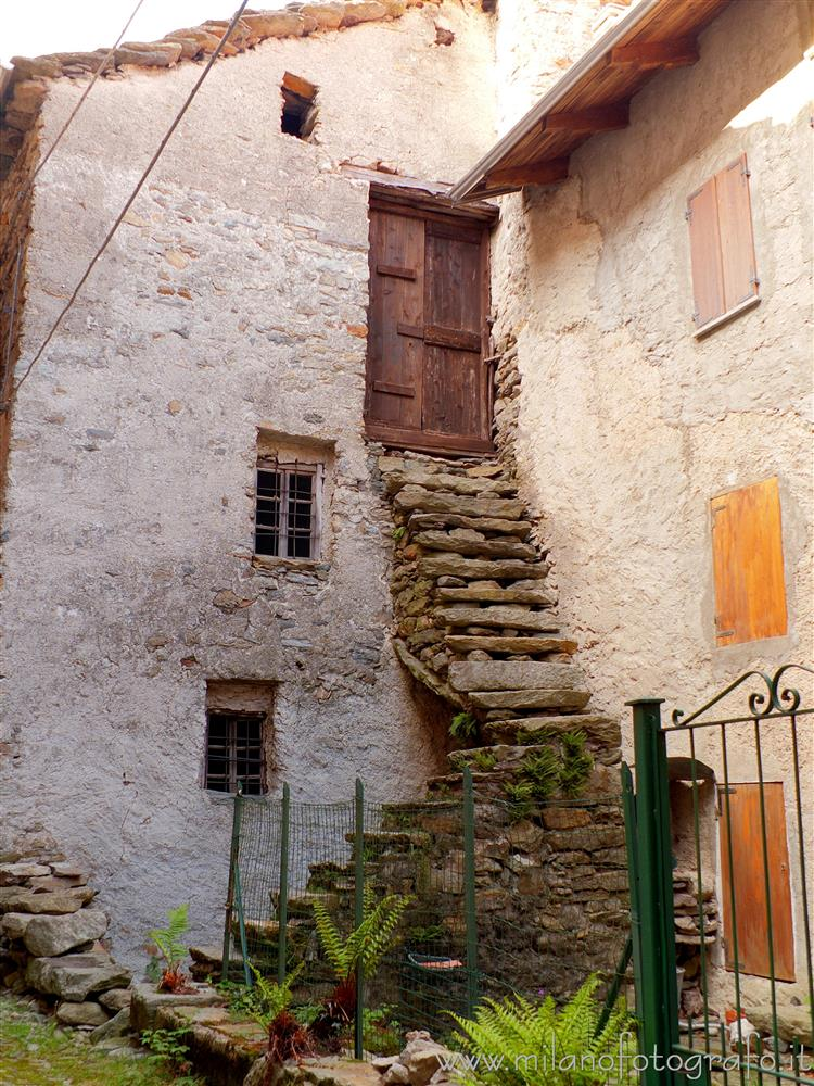 Montesinaro fraction of Piedicavallo (Biella, Italy) - Old stairs to the first floor