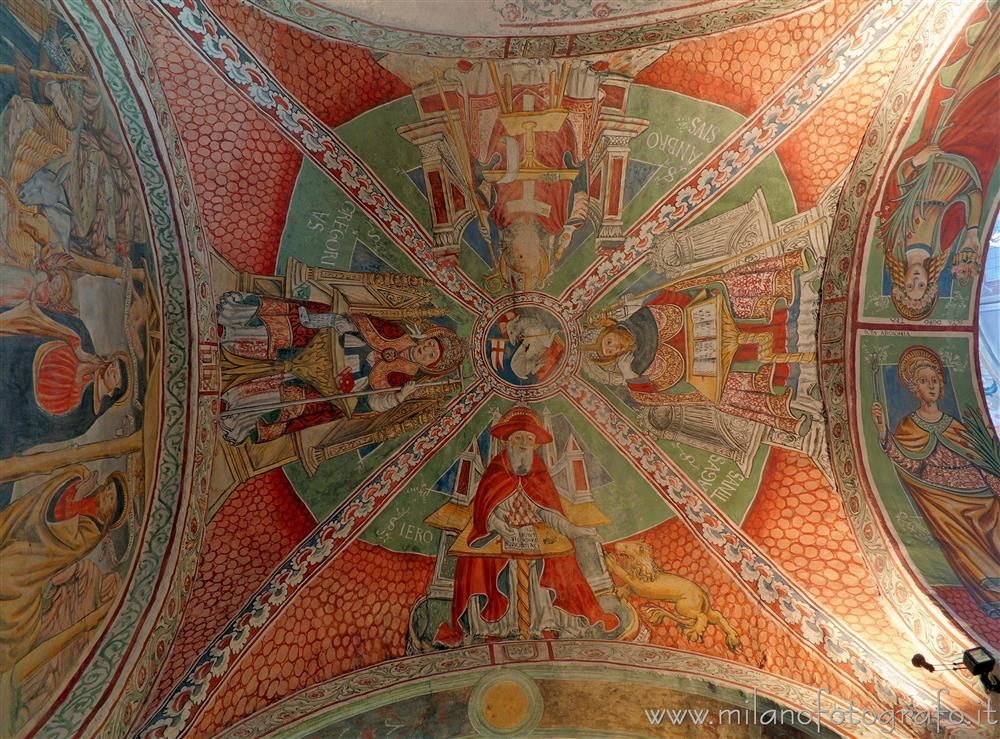Orta San Giulio (Novara, Italy) - Doctors of the Church on the vault of the third right span of the Basilica of San Giulio
