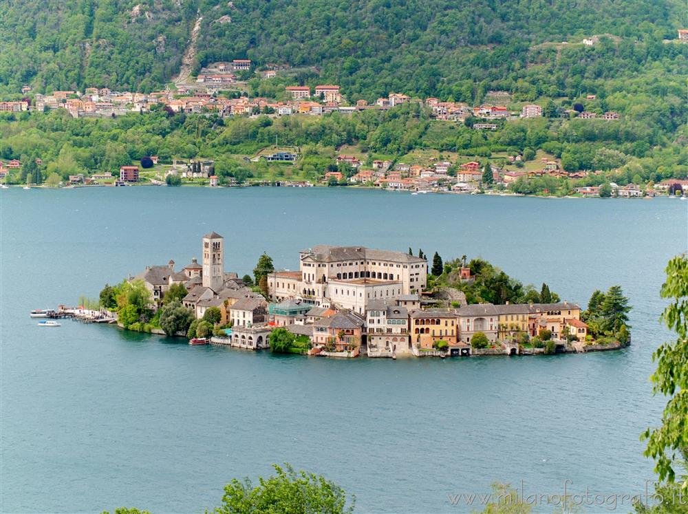 Orta San Giulio (Novara, Italy) - The Island of San Giulio seen from the Sacro Monte