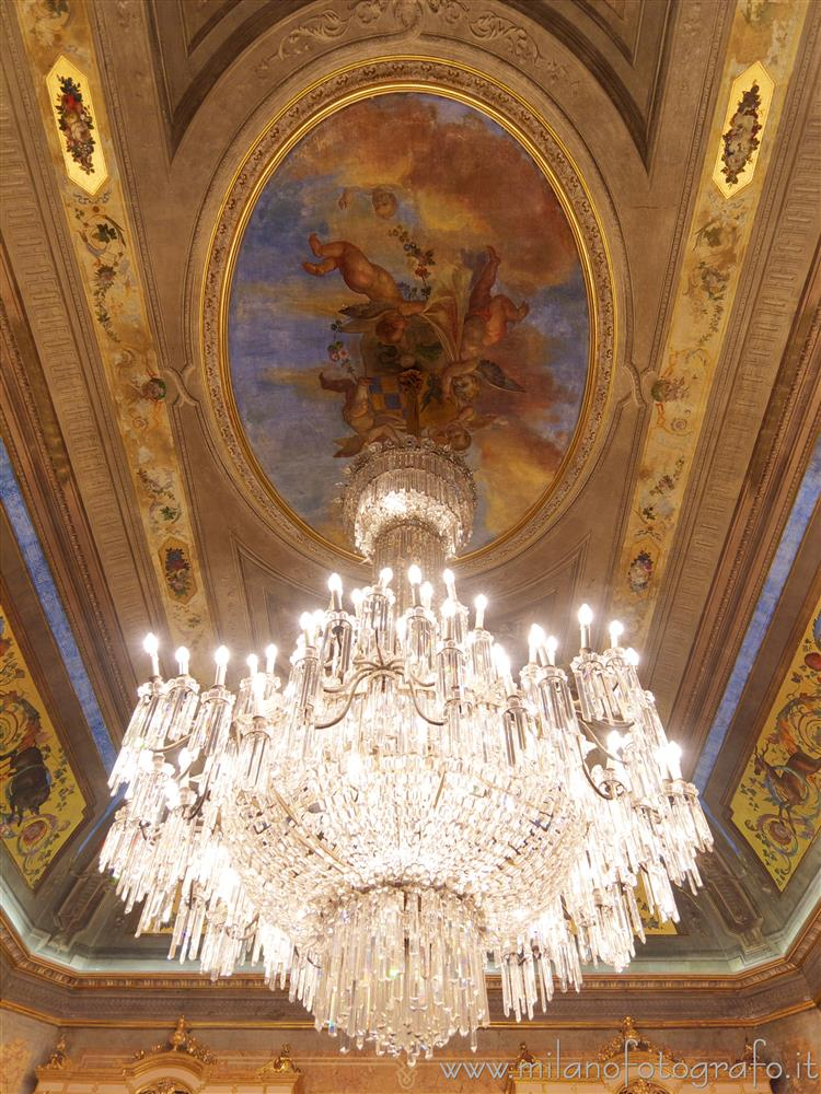 Milan (Italy) - Chandelier and ceiling of  Beauharnais Hall in Serbelloni Palace