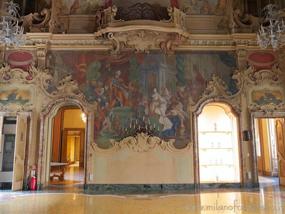 Milan (Italy) - Wall of the hall of Visconti Palace with the representation of Solomon and the Queen of Sheba