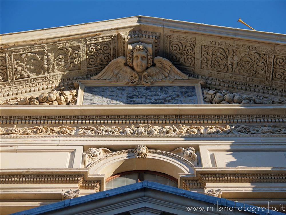 Saronno (Varese, Italy) - Detail of the facade of the Sanctuary of the Blessed Virgin of the Miracles