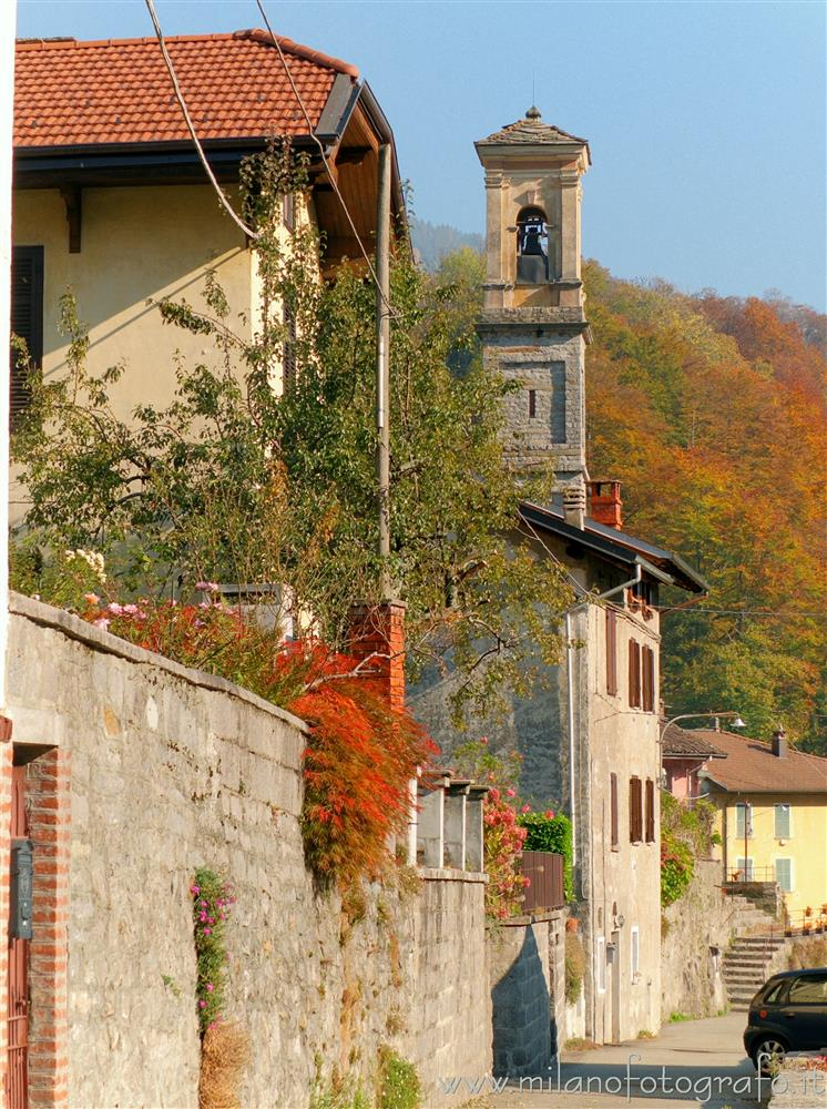 Valmosca fraction of Campiglia Cervo (Biella, Italy) - Street of the village in autumn