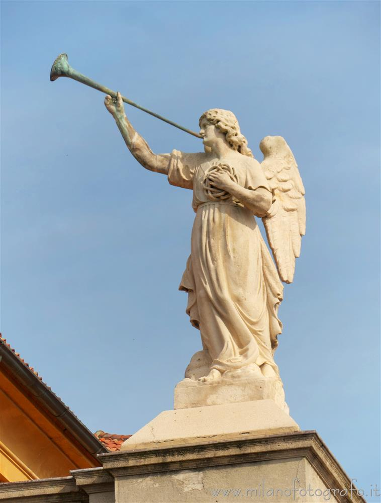 Vimercate (Monza e Brianza, Italy) - Statue of angel on the facade of the Sanctuary of the Blessed Virgin of the Rosary