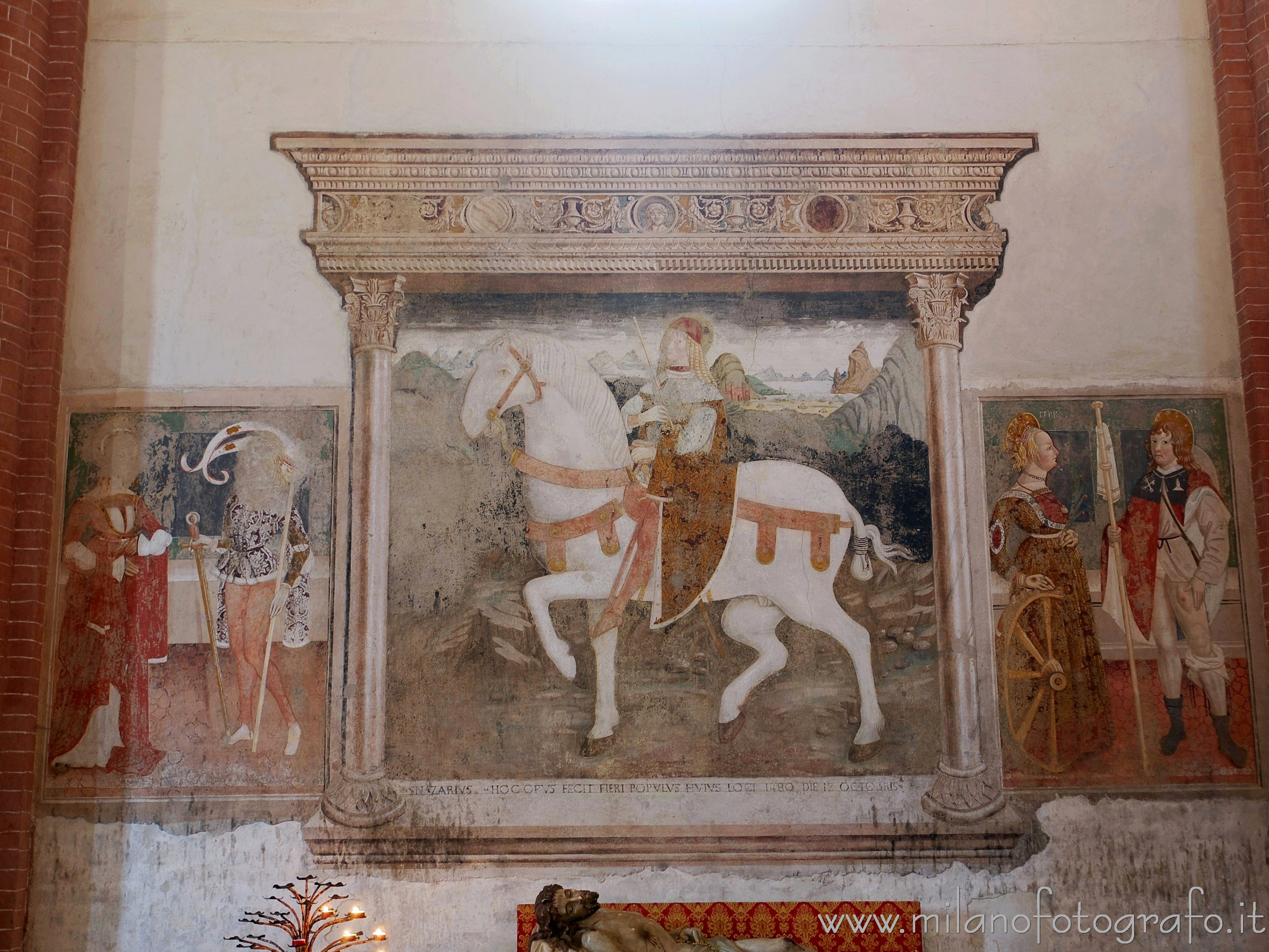 San Nazzaro Sesia (Novara, Italy): Fresco of Saint Nazario riding in the Abbey of the Saints Nazario and Celso - San Nazzaro Sesia (Novara, Italy)