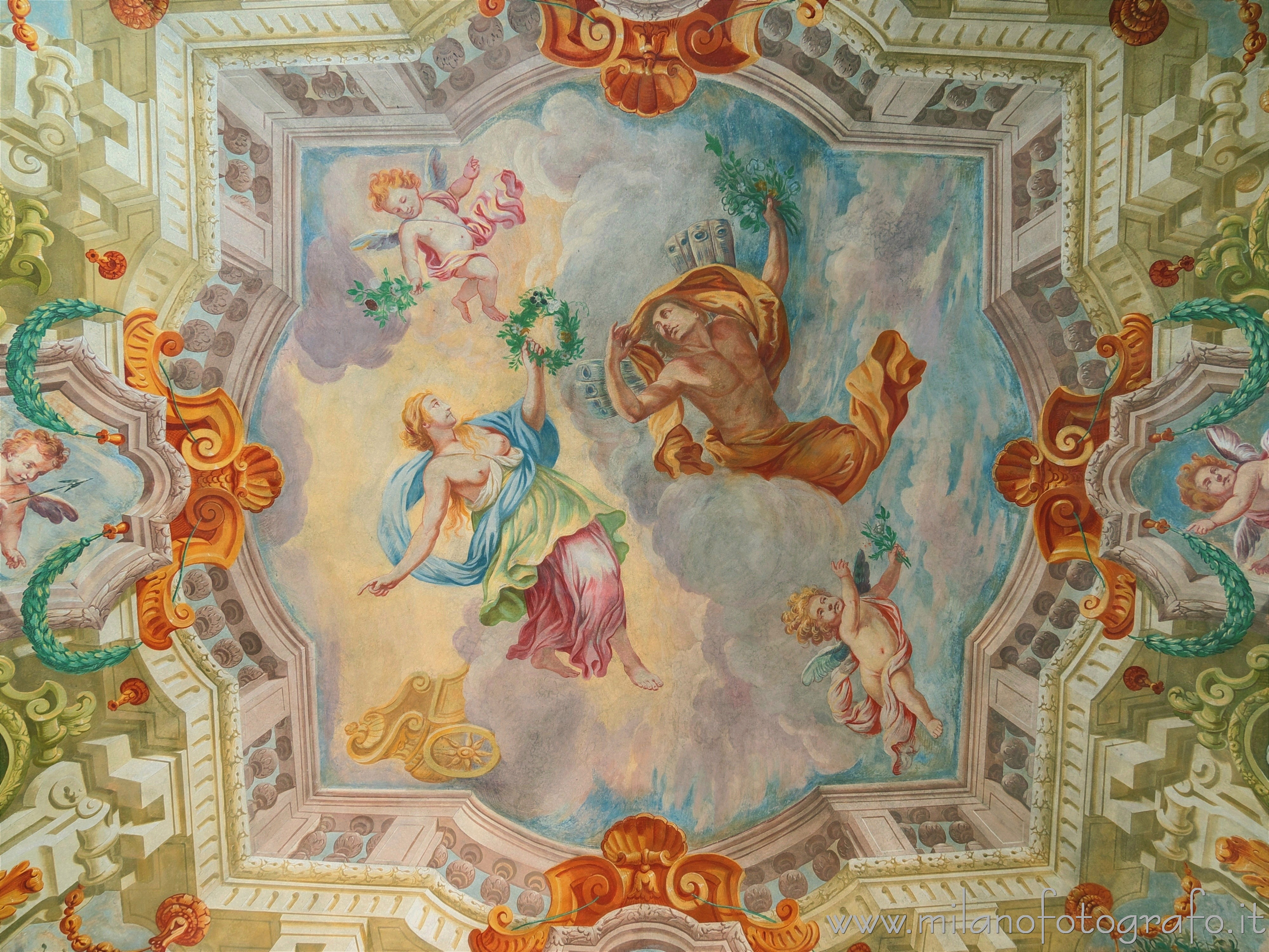 Cavernago (Bergamo, Italy): Trompe l'oeil on the ceiling of one of the rooms of the Castle of Cavernago - Cavernago (Bergamo, Italy)